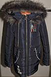 Пальто на девочку зимнее синее 36,38 р Новинка., фото 3