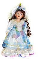 """Кукла фарфоровая  в голубом платье с меланжевым бантом 12"""" №1"""