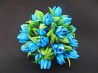 Тюльпан на проволочке, d 2 см, бирюзового цвета