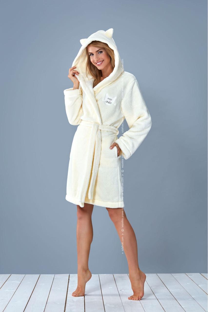 Жіночий халат середньої довжини на запах із капюшоном та вушками L&L LOTA