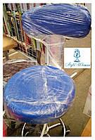 Стул мастера со спинкой на колесиках из кожзама синий