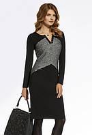 Женское трикотажное платье черно-серого цвета. Модель 220048 Enny, коллекция осень-зима 2016-2017.