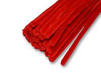 Синельная проволока (шенил) бархатная Красная 30 см 1 шт