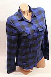 Женские рубашки в клетку байка VSA т.синый+черный