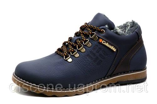 Ботинки на меху Columbia, зимние, мужские, натуральная кожа, темно-синие