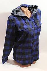 Женские рубашки в клетку байка с капюшоном VSA т.синий крупная