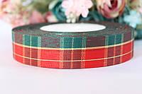 """Лента  """"Шотландка"""", ширина 2,5 см, зеленый+красный крупная клетка рулоном оптом НГ"""