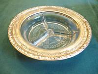 Икорница  стекло в серебре Англия, нач ХХ в. sterling