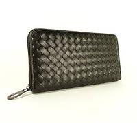 Мужской кожаный плетенный клатч, кошелек BV 012-1 черный, фото 1