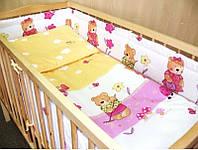 Набор постельного белья в детскую кроватку из 6 предметов Мишка садовник розовый