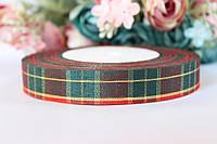 """Лента  """"Шотландка"""", ширина 1,8 см, зеленый+красный крупная клетка рулоном оптом НГ"""