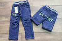 Утепленные котоновые брюки на флисе для мальчиков 1- 5 лет , фото 1