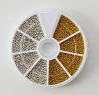Набор бисера (бульонки) золото и серебро в карусельке Miss Lan