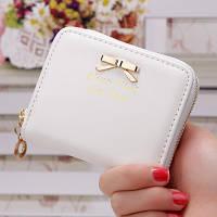 Женский кошелек Золотой Бантик на молнии маленький белый, фото 1