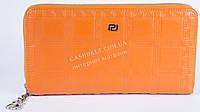 Стильный прочный женский бумажник барсетка с очень качественной кожи art. V-3803L оранжевый