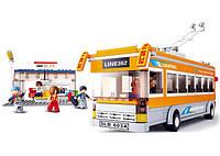 Конструктор SLUBAN M38-B0332 тролейбус, зупинка, фігурки 5шт., 465дет., кор., 42,5-28,5-6,5 см, фото 1