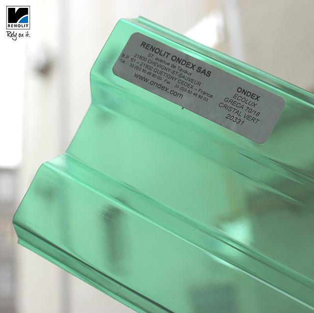 Зеленый прозрачный шифер Ондекс 3*1,09м
