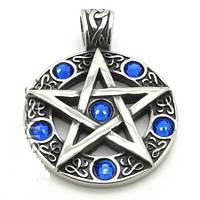 Кулон Пентаграмма сталь (синий)