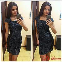 Модное женское платье с вставками из экокожи k-50031926