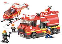 Конструктор SLUBAN M38-B0222 Пожехні рятівники , машина, гелікоптер, 409 дет., кор., 42,5-28,5-7 см