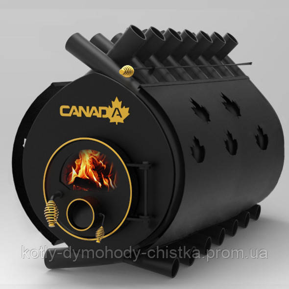 Печь буллерьян «Canada» Классик тип 05 со стеклом и перфорацией (калориферная печь)