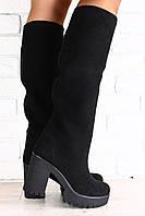Женские замшевые сапоги-труба на высоком устойчивом каблуке черные