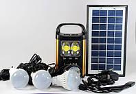 Мощный фонарь с солнечной батареей в комплекте GD 8131 (USB порт, 3 подвесные лампочки, 1 налобный фонарик)