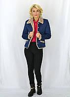 Осенняя женская курточка на золотистых пуговках Джессика синего цвета