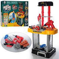 Детский игровой набор инструментов W077, 3в1, верстак/чемодан,дрель-на бат-ке,вращ.сверло,в кор-ке,42,5-51-7см