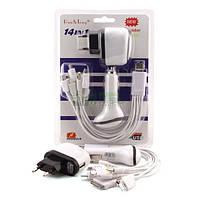Зарядное устройство Сетевое + автомобильное  Run Teng, White, 1 x USB, кабель USB 14 переходников