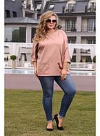 Женская туника с карманами рукав 3/4 Моника цвет фрез размер 48-72