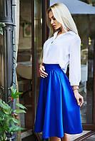 Женская красивая юбка ниже колена синяя электрик