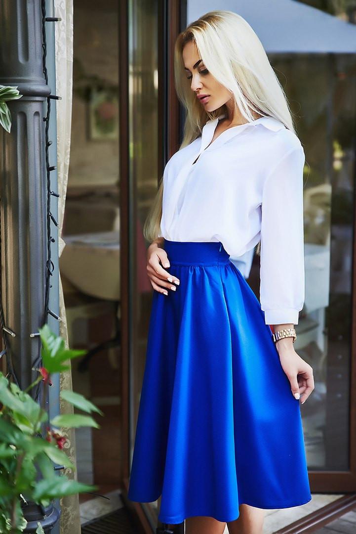 4722d109cd7 Женская красивая юбка ниже колена синяя электрик - Стильная женская одежда  оптом