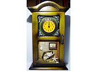 Ключница-часы на 4 крючка KC233A, ключница для дома в морском стиле, деревянная вешалка шкафчик для ключей