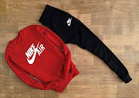Cпортивный костюм красный свитшот Nikе белое лого