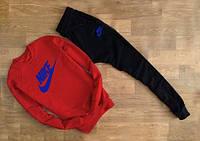 Cпортивный костюм красный свитшот Nike синее лого