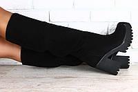 Женские замшевые сапоги-европейка на высоком устойчивом каблуке черные