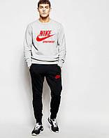 Мужской  спортивный костюм Nike серый свитшот красное лого