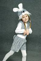 Детский карнавальный костюм Зайчик Заяц серый