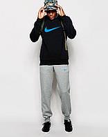 Мужской  спортивный костюм чёрный свитшот Nike синее лого