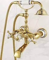 Смеситель для ванной золото 6133a Deco Gold в ретро стиле золотой