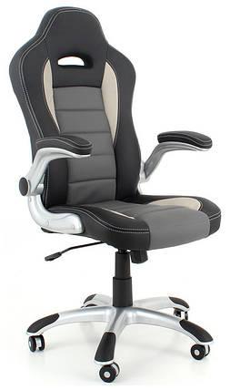 Кресло офисное кожаное ЕКО 24604 черно-серое, фото 2