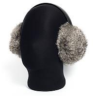 Наушники зимние меховые темно-серый натуральный кролик