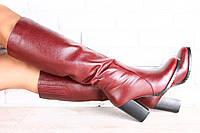 Женские кожаные сапоги-европейка на высоком устойчивом каблуке цвета марсала
