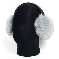 Теплые наушники из меха кролика серо-голубого цвета