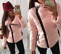 Куртка женская ХИТ СЕЗОНА!!! ткань плащевка, с кожаной вставкой на воротнике, много цветов!!  ВКот АМ1 № 8200