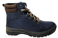 Мужские ботинки Madoks синие, турецкая кожа, мех Р. 40