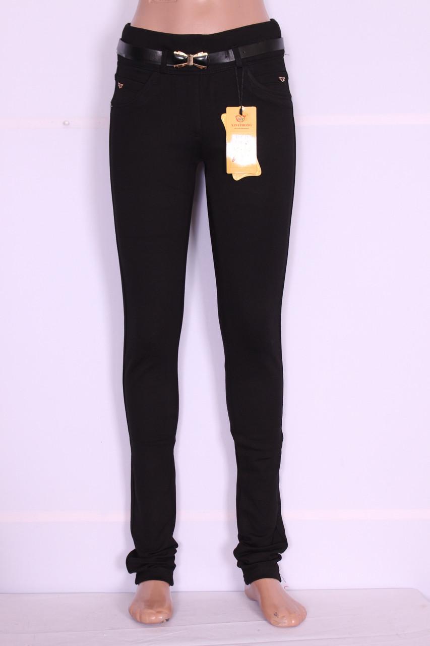 Утепленные женские лосины черного цвета (код 827)