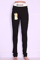 Теплые молодежные лосины черного цвета (код 812)