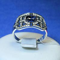 Серебряное кольцо с синим фианитом 1102с